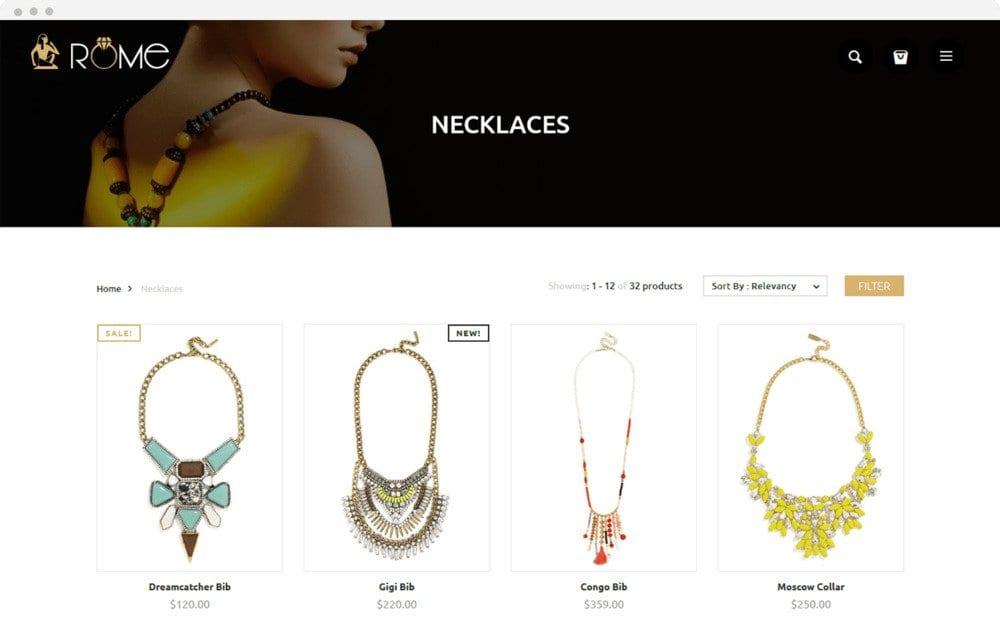 Página web para joyerías